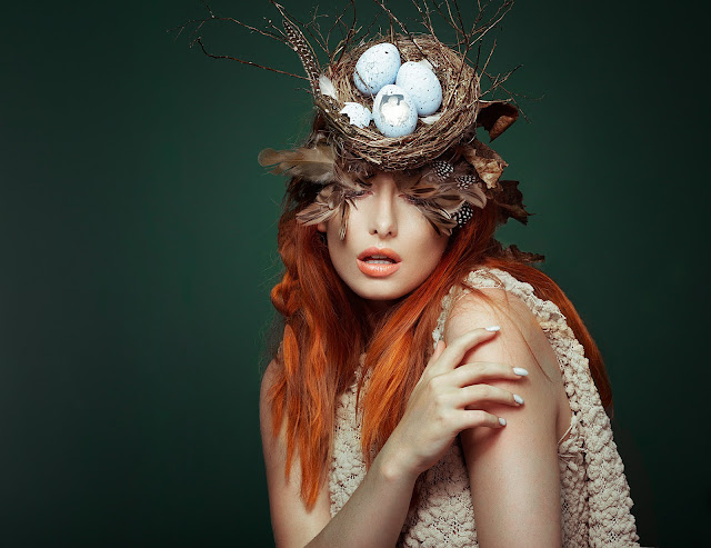 mystic magic, ginger hair, bird nest, headpiece, birdnest headpiece, autumn, forest, natural, beauty, feathers, fashion, couture fashion, designer, style, avant garde, eggs, fairytale, fantasy, photograohy,