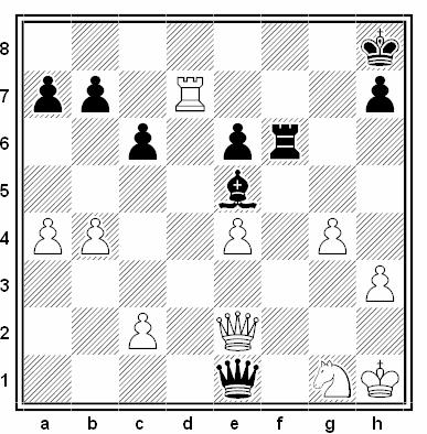 Posición de la partida de ajedrez Nelson Dantas - Bernardo Wexler (Zonal de Mar del Plata, 1951)