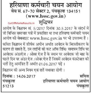 Haryana Police Constable Correction news