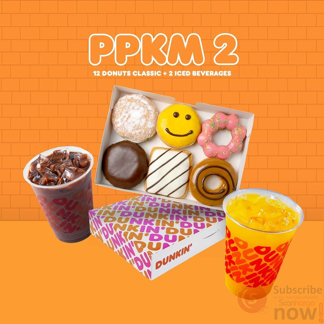 Promo DUNKIN' DONUTS PPKM Paket 2 (12 Donuts + 2 Minuman) hanya Rp. 120K*