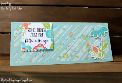 Blossom Slimline Birthday Card - card closed