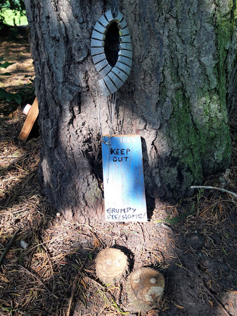 "A small blue wooden elf door against a tree trunk.  The words on the door read ""Keep Out.  Grumpy Elf home"""