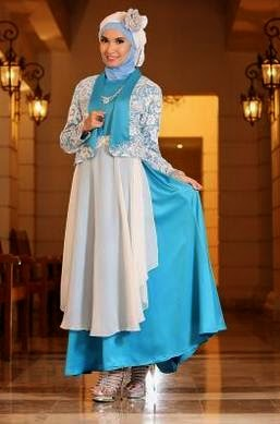 Contoh model gaun pesta muslimah terbaru