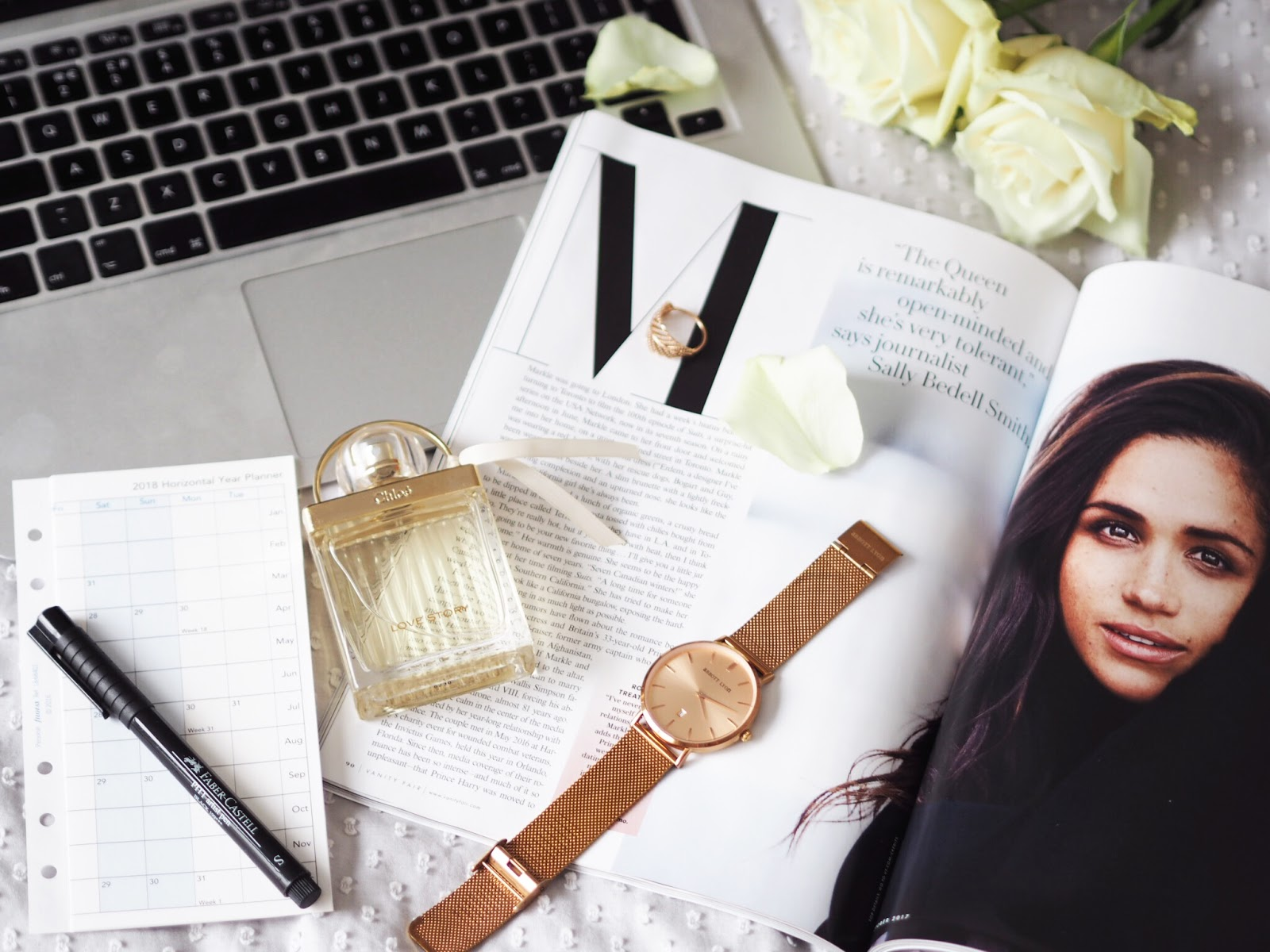 Blog Help | The Realities of Blogging Alongside a Full Time Job Vanity Fair White Roses MacBook Perfume Watch