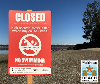 red sign with no swimming symbol: Closed High bacteria levels in this water may cause illness.  Other beach activities permitted. Washington Beach Program