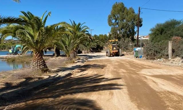 Ερμιονίδα: Εργασίες ανάπλασης της παραλίμνιας οδού στην Κοινότητα Πορτοχελίου