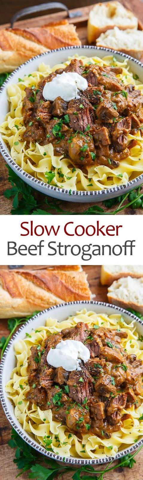 Slow Cooker Pot Roast Beef Stroganoff