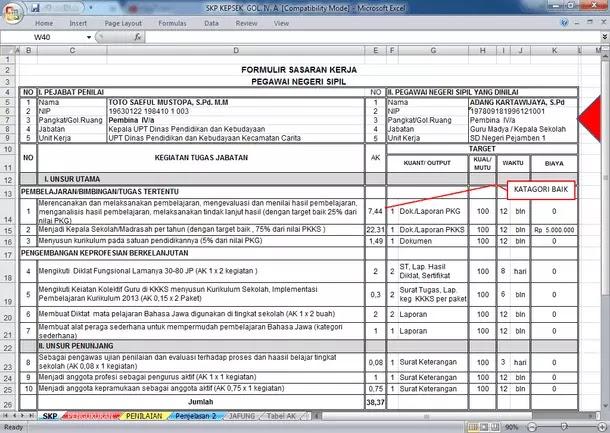 Aplikasi SKP Kepala Sekolah Terbaru Format Microsoft Excel