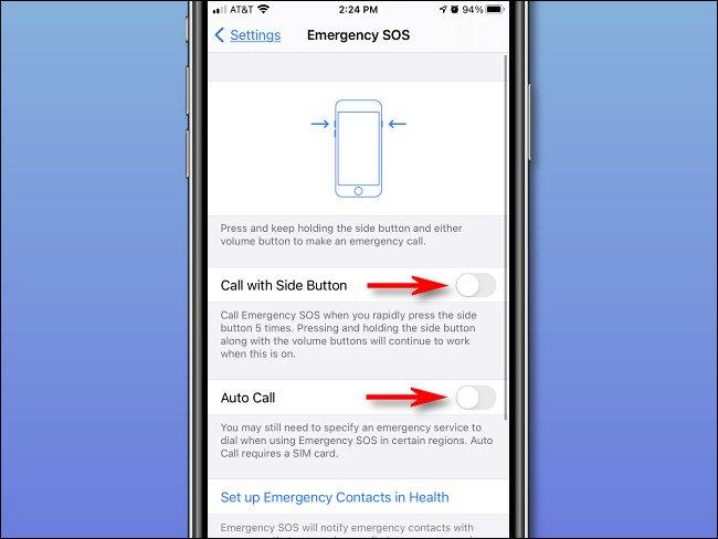 """في إعدادات """"Emergency SOS"""" على iPhone ، أوقف """"الاتصال بالزر الجانبي"""" و """"الاتصال التلقائي""""."""