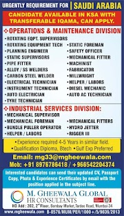 SAUDI JOBS : REQUIRED FOR A LEADING COPANY IN SAUDI .g