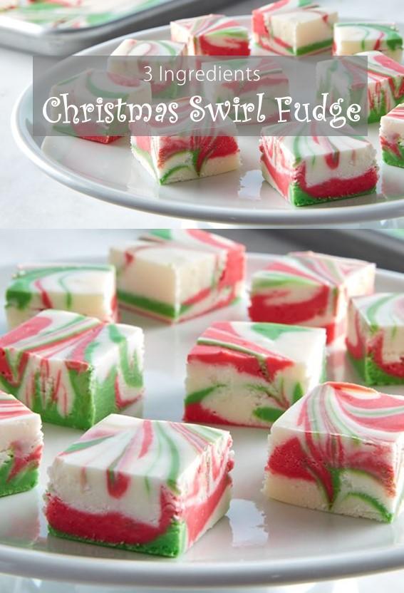 3-Ingredient Christmas Swirl Fudge #Fudge #Vanilla #Christmas #Dessert #Cake