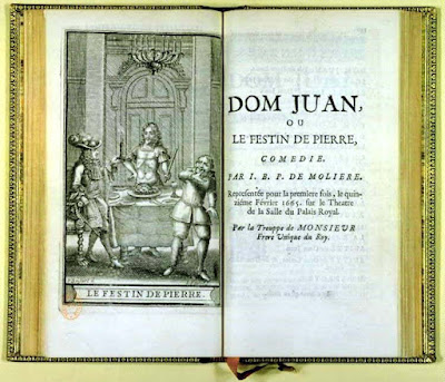 The censored edition of Dom Juan ou le Festin de pierre (1683), by Molière, features an illustration of the statue at the feast