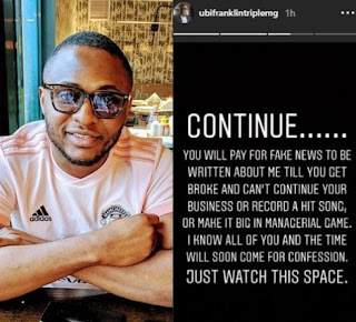 You Will Continue To Pay For Fake News To Be Written About Me Till You Get Broke And Can't Record A Hit Song - Ubi Franklin Spits Fire