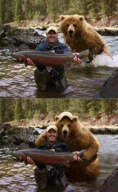 Funny fisherman and bear holding a fish selfie