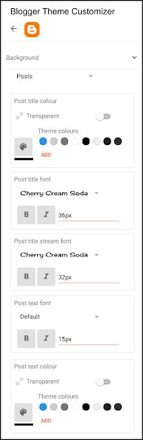 Google Blogger theme customiser