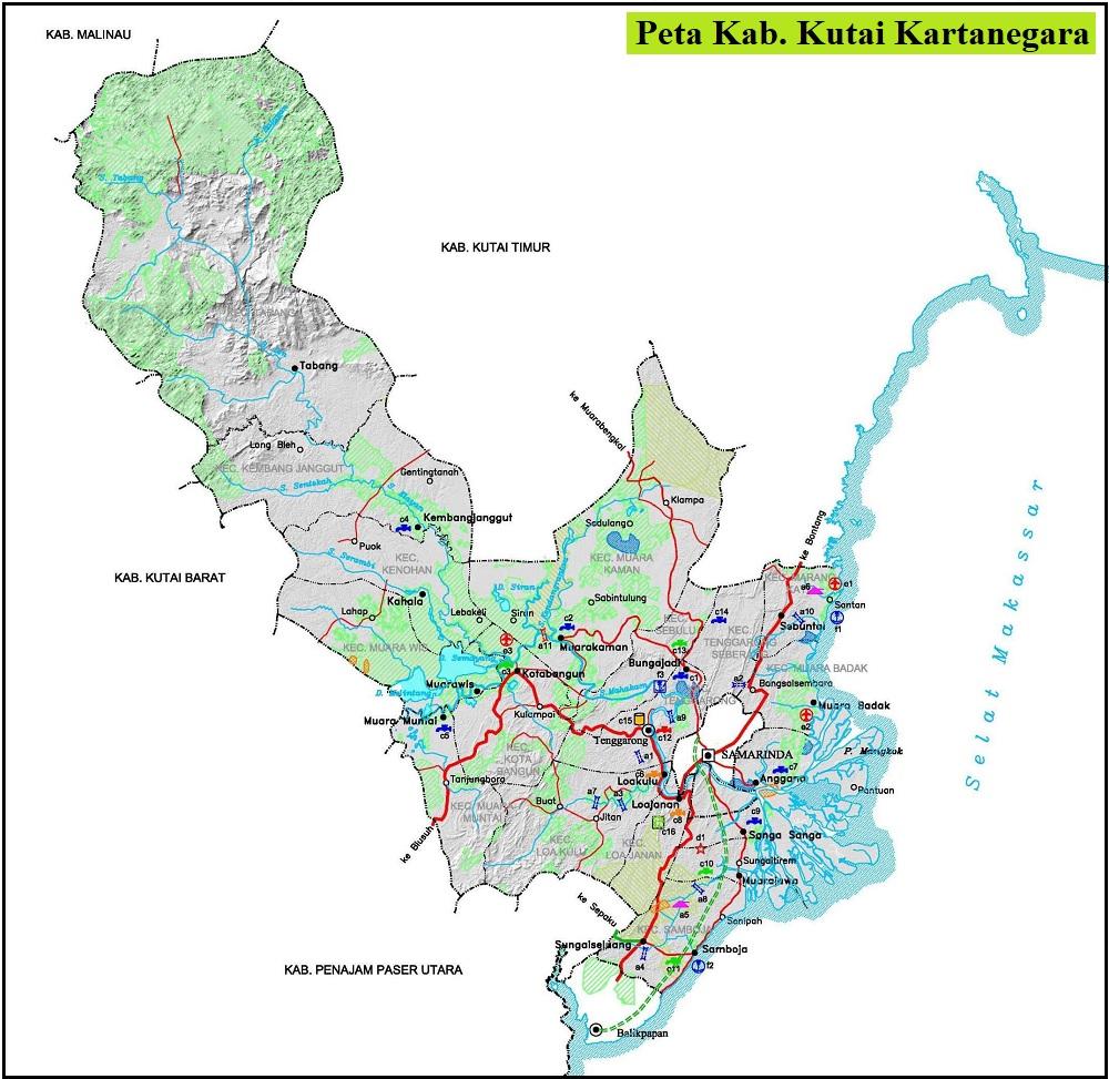 Peta Kabupaten Kutai Kartanegara Kalimantan Timur