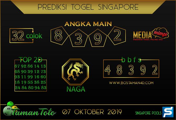 Prediksi Togel SINGAPORE TAMAN TOTO 07 OKTOBER 2019