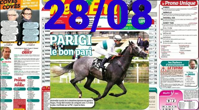Pronostic quinté+ pmu samedi Paris-Turf TV-100 % 28/08/2021