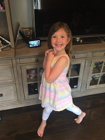 Rae's granddaughter enjoying a dance party over the Echo Show. Image Credit Rae Luskin.