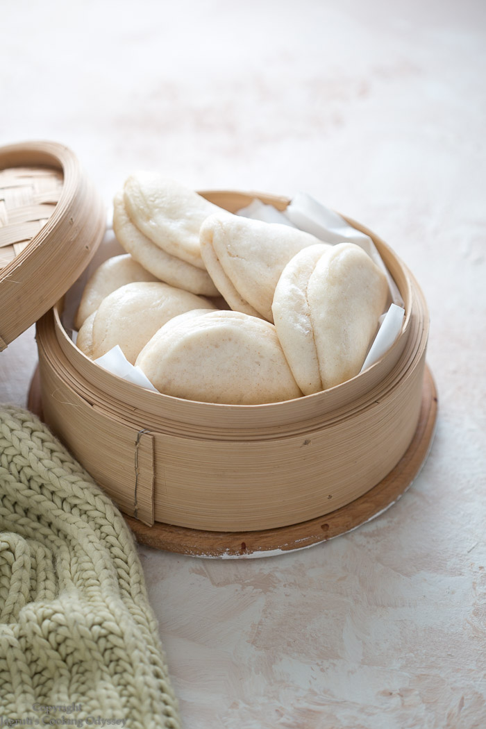 White soft and fluffy steamed bao buns ready to eat