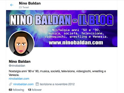 L'account Twitter di Nino Baldan dopo la pulizia dei falsi following