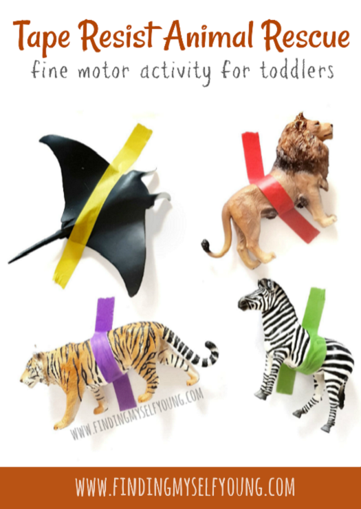 Tape resist animal rescue fine motor activity for toddlers.