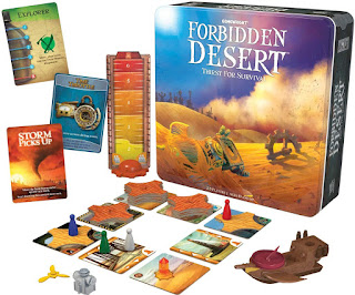 Componentes del juego de mesa el desierto prohibido