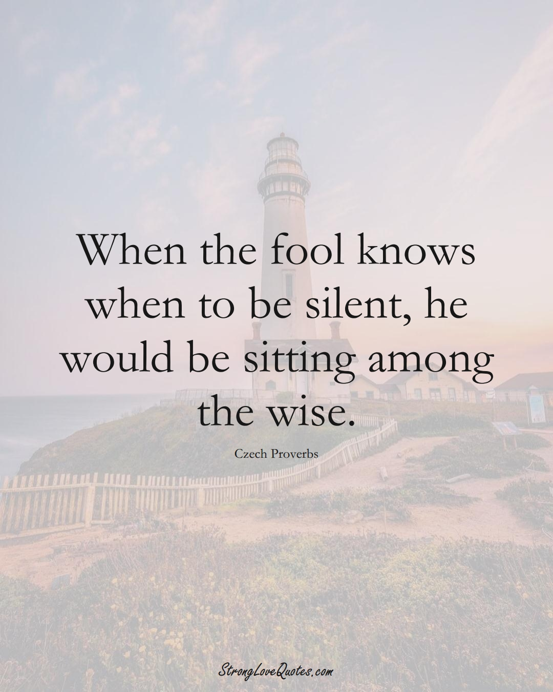 When the fool knows when to be silent, he would be sitting among the wise. (Czech Sayings);  #EuropeanSayings