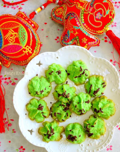 Desiccated Coconut Pandan Cookies