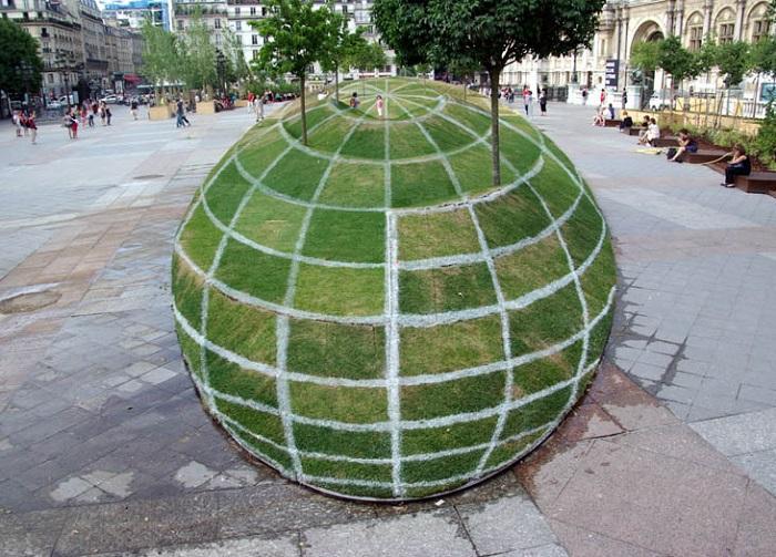 Grass Globe Illusion at Paris City Hall
