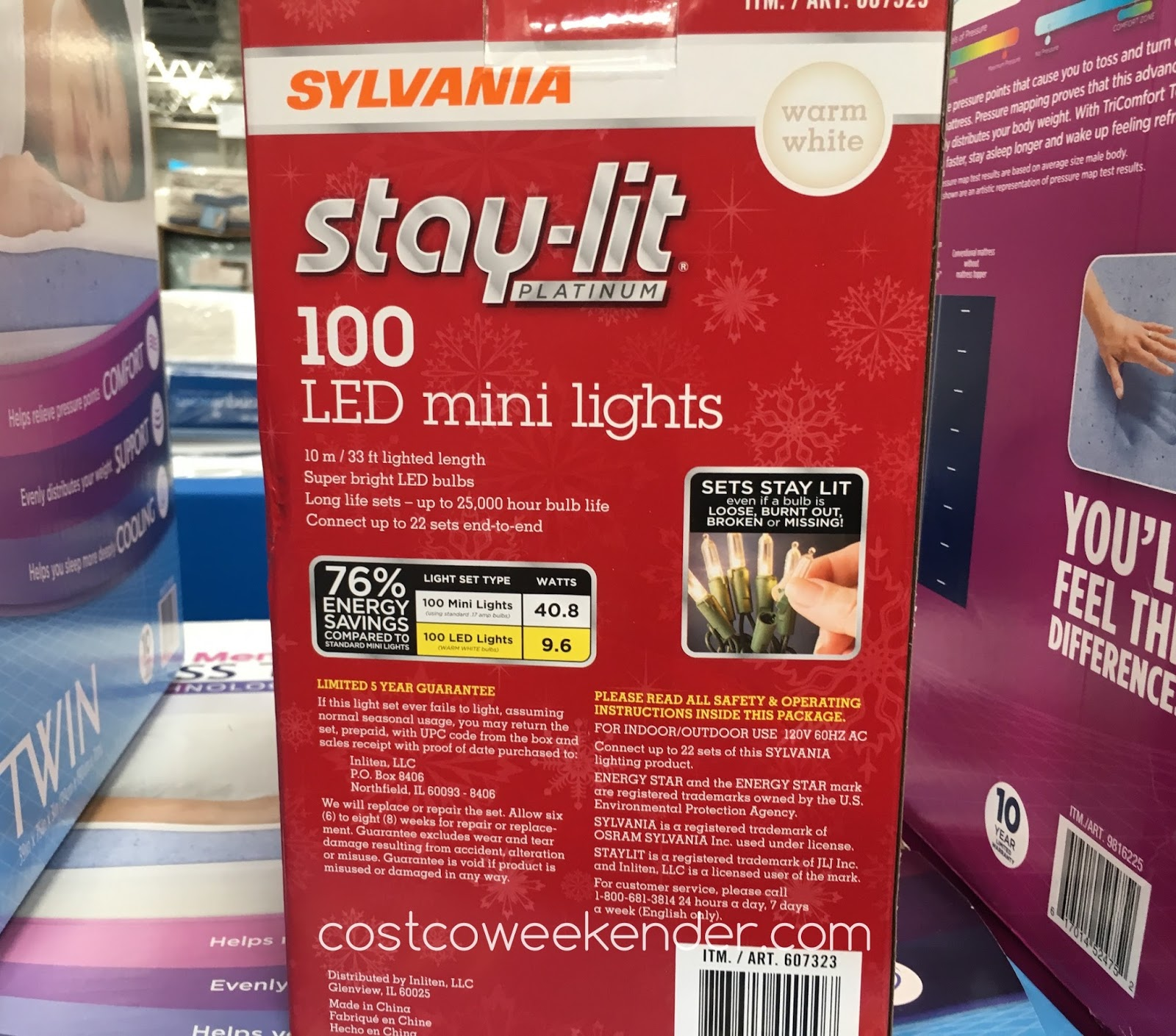 Costco 607323 - Get ready for the holiday season with the Sylvania Stay-lit 100 LED Mini Lights