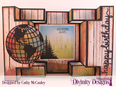 Details:  Seek Me  Paper Collection: Weathered Wood   Custom Dies: Double Display Card, Double Display Layers, Globe & Stand, Squares, Happy Birthday Script, Grass Hill