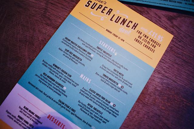 Jamies Italian super lunch menu