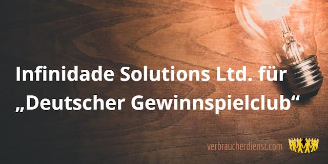"""Titel: Infinidade Solutions Ltd. für """"Deutscher Gewinnspielclub"""""""