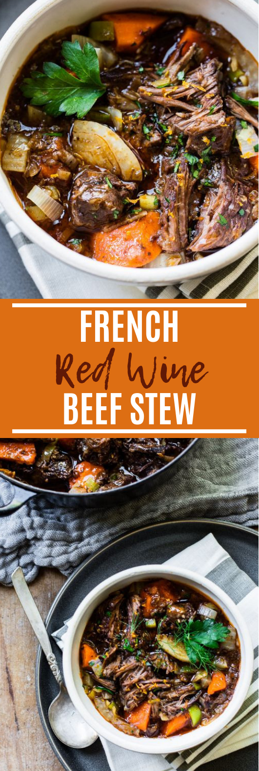 Slow-Cooked Red Wine Beef Stew #dinner #beef