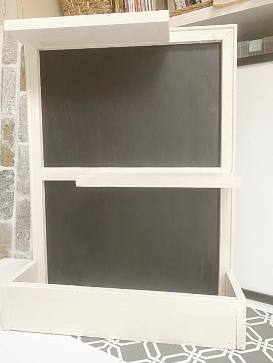 wall shelf with chalkboard backing