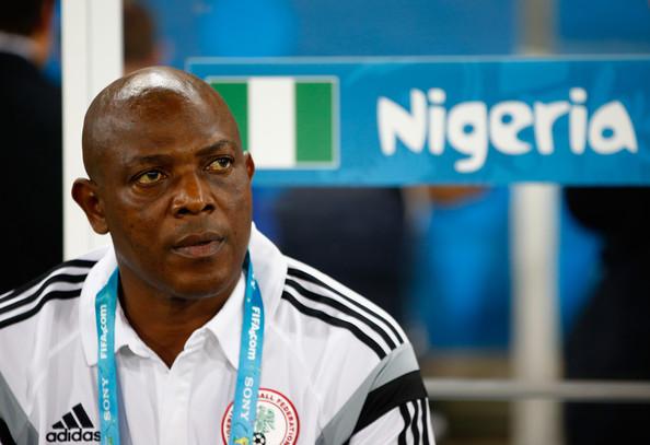 Super Eagles coach Stephen Keshi looks on during Nigeria vs Bosnia