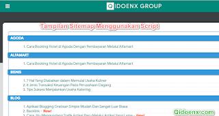 Tampilan Script Sitemap