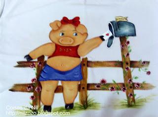 """""""pintura porquinha periguete com carta"""""""
