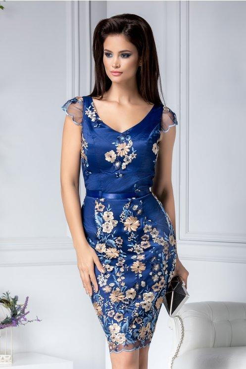 Rochie albastra de lux de ocazie cu broderie florala bej