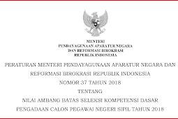 Download Permen PANRB Nomor 37 Tahun 2018 PDF Tentang Nilai Ambang Batas CPNS 2018