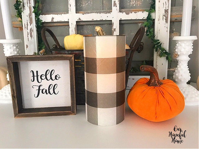 Hello Fall sign buffalo check LED candle orange fabric pumpkin