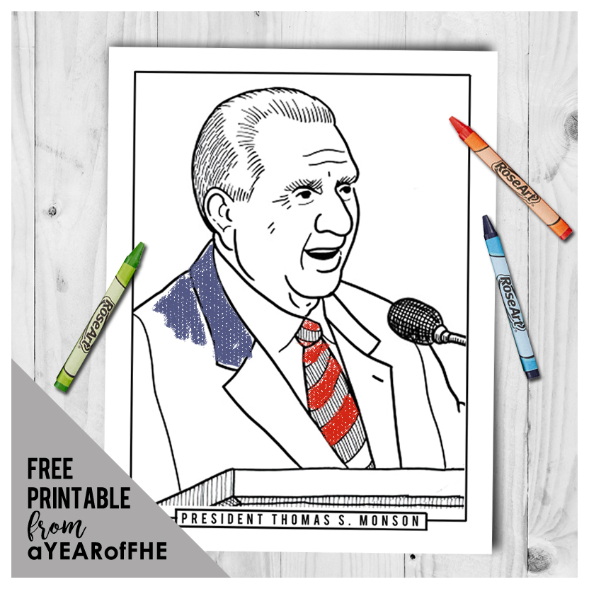 A Year of FHE // LDS Coloring Page of President Thomas S. Monson. #lds #fhe #monson
