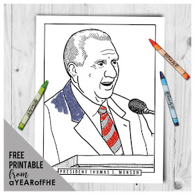 A year of fhe year 02 lesson 39 president thomas s for Thomas s monson coloring page