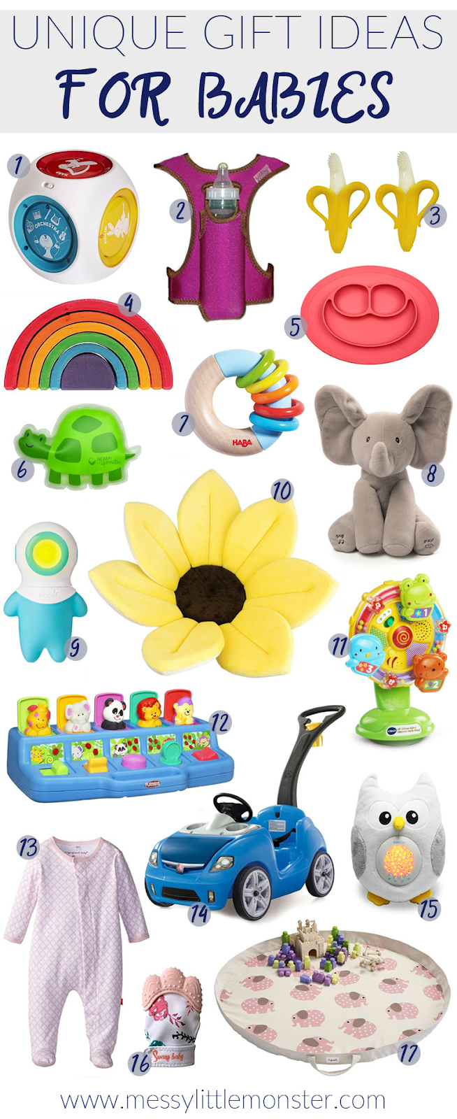 Unique gift ideas for babies. 17 unique baby gifts you will love! Some stocking fillers for babies and some larger out of the ordinary baby gift ideas.
