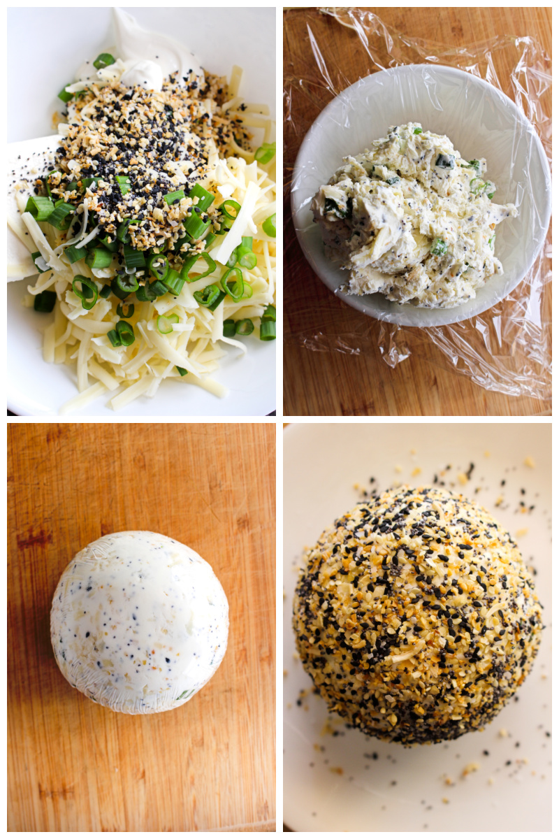This Easy Everything Bagel Cheese Ball coated in homemade everything bagel seasoning is the perfect starter for brunch or appetizer for dinner. Serve it with bagel chips for dipping! #cheeseball #everythingbagel #appetizer