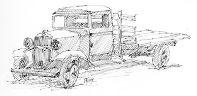 art sketch pen ink truck Chevy flatbed vintage derelict
