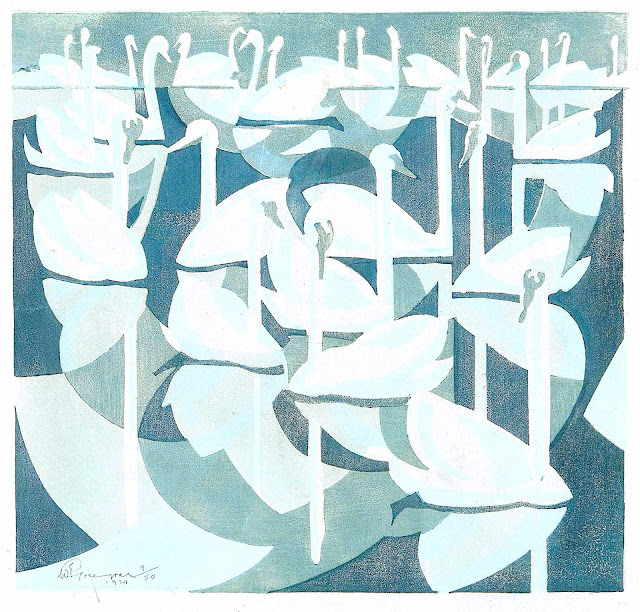 a 1934 print by William Greengrass, swans in a group, the color teal