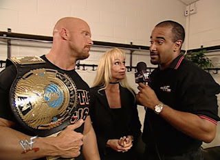 WWE / WWF - King of the Ring 2001 - Jonathan Coachman interviews WWF Champion Steve Austin (w/ Debra)