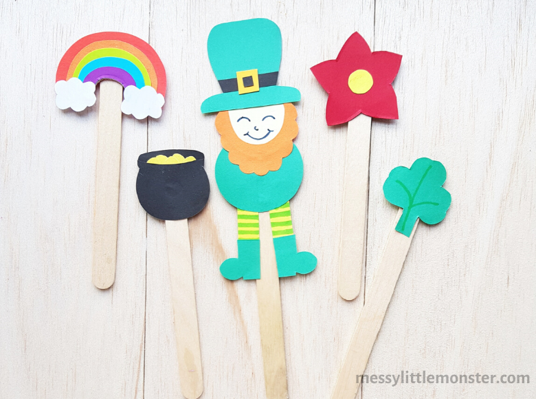 leprechaun puppet with leprechaun template
